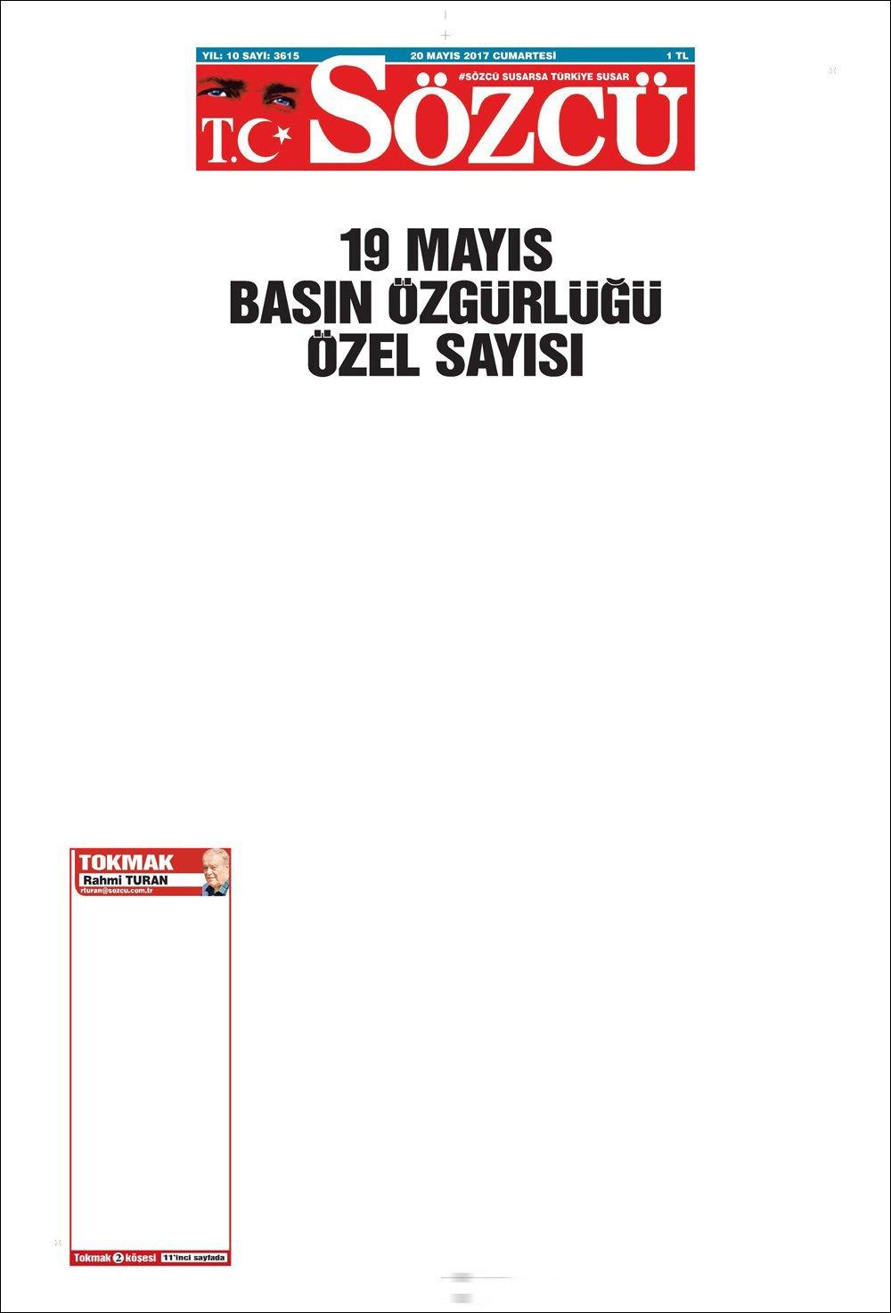 Sözcü newspaper's press freedom special issue